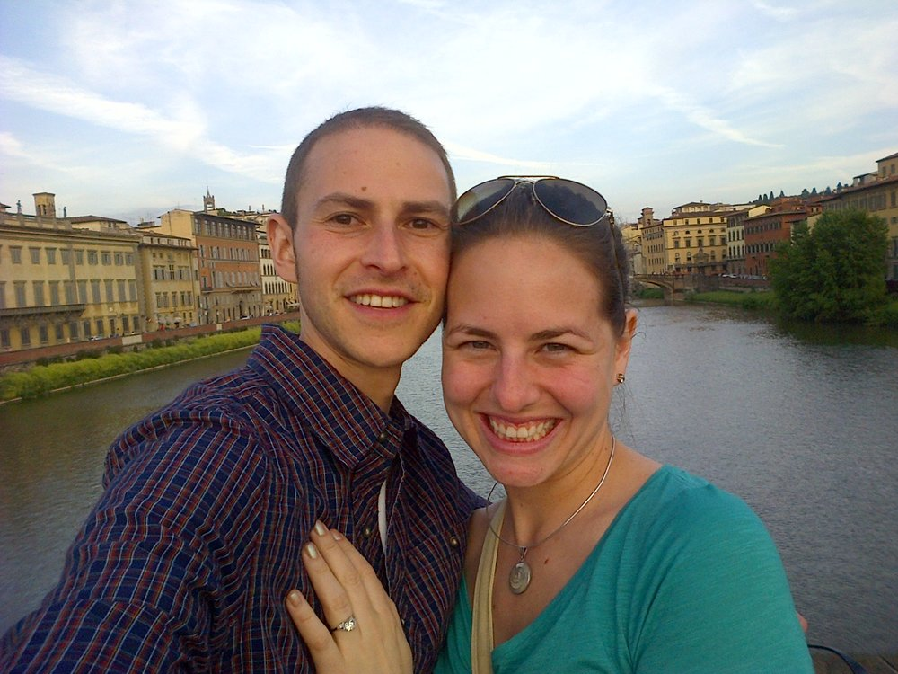 We took a selfie moments after getting engaged in Florence!