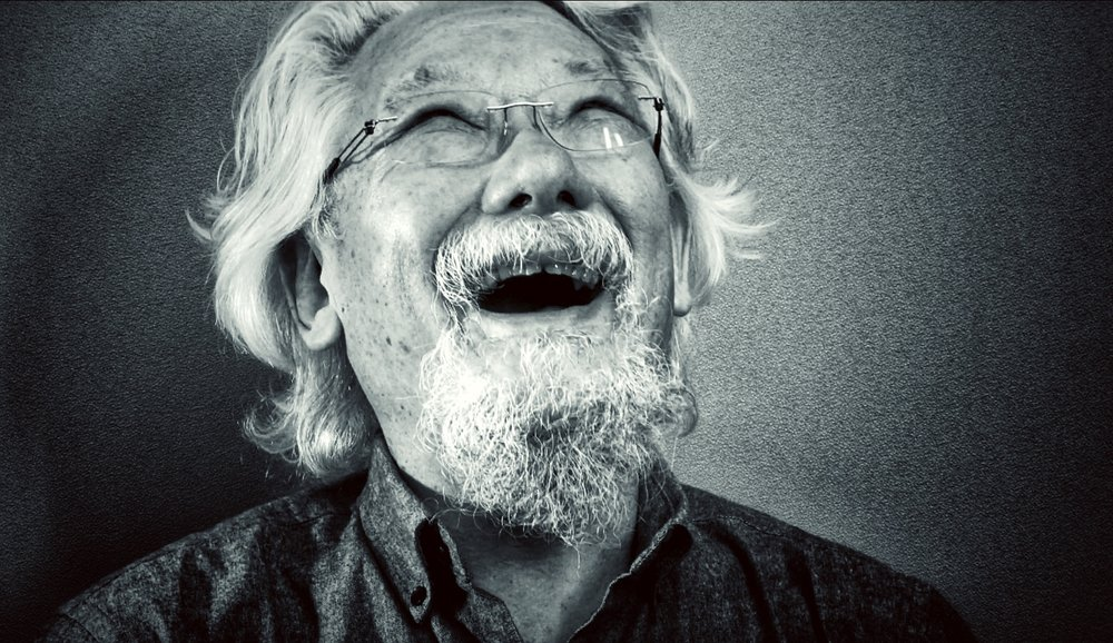 Dr. David Suzuki in a light moment during his interview with Harrowsmith (photo by Wayne MacPhail)