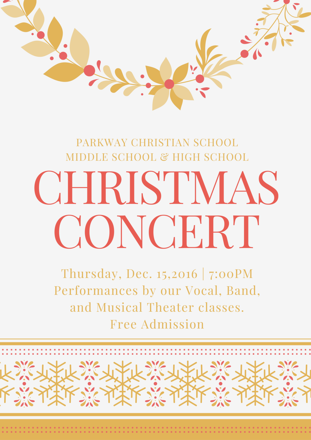 MS/HS Christmas Program — Parkway Christian School