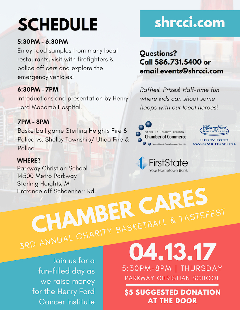Sterling Heights Regional Chamber of Commerce - Chamber Cares 3rd Annual Charity Basketball and Tastefest