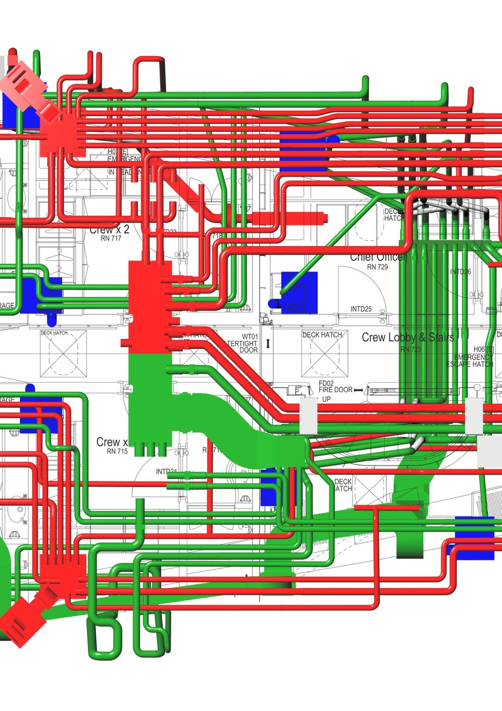 Pipe and wiring layouts for large cruising yacht