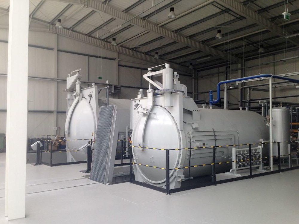 Two autoclaves in the production hall  -  with capacity to cure components of up to 3.5m wide and 10m long