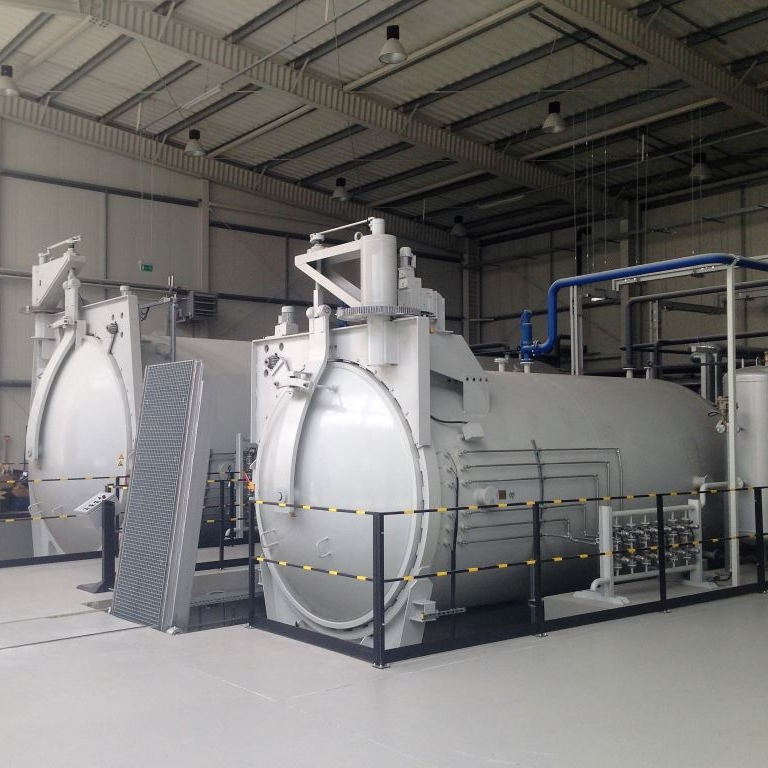Two autoclaves in the production hall - with capacity to cure components of up to 3.5m wide and 10m long.