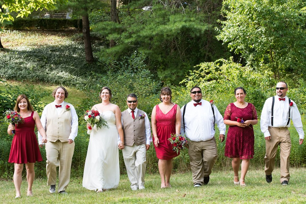 bridal party at the overbrook house in bourne, ma
