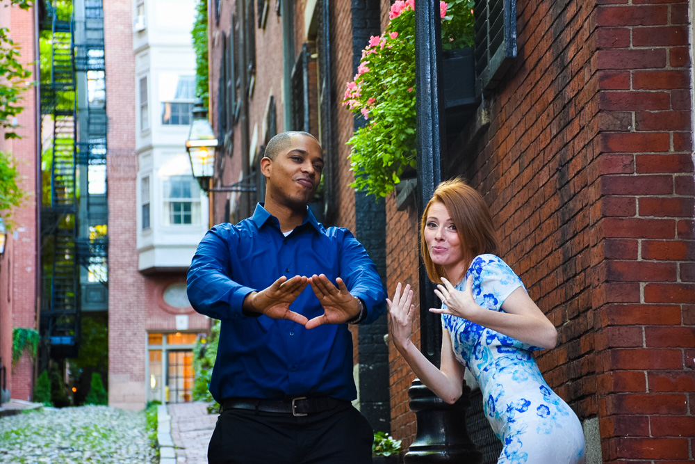 Acorn street engagement photographs in Boston