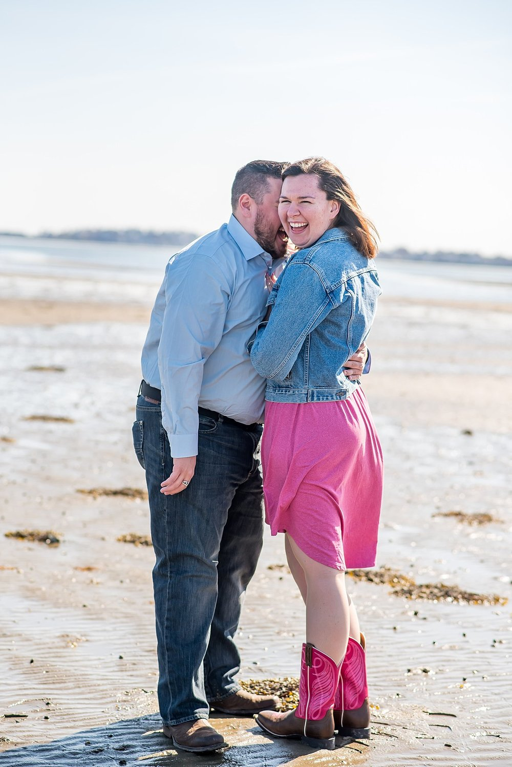 Kissing engaged couple in quincy