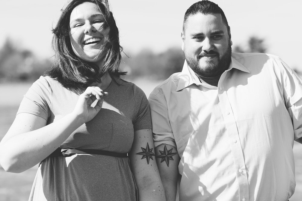 Black and white photos of couple in quincy