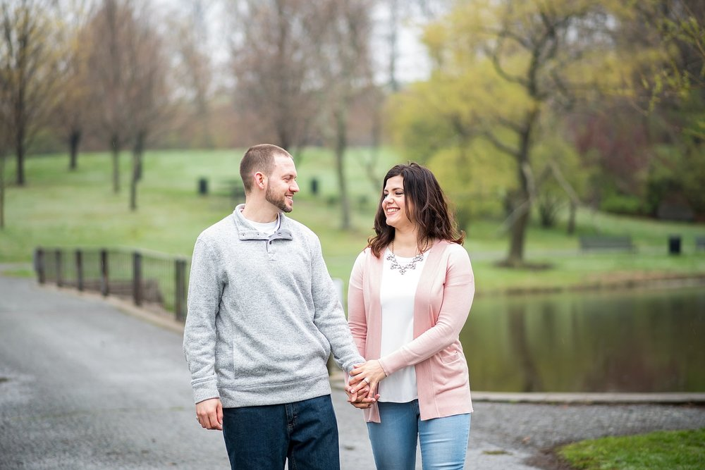 engaged couple at larz anderson park