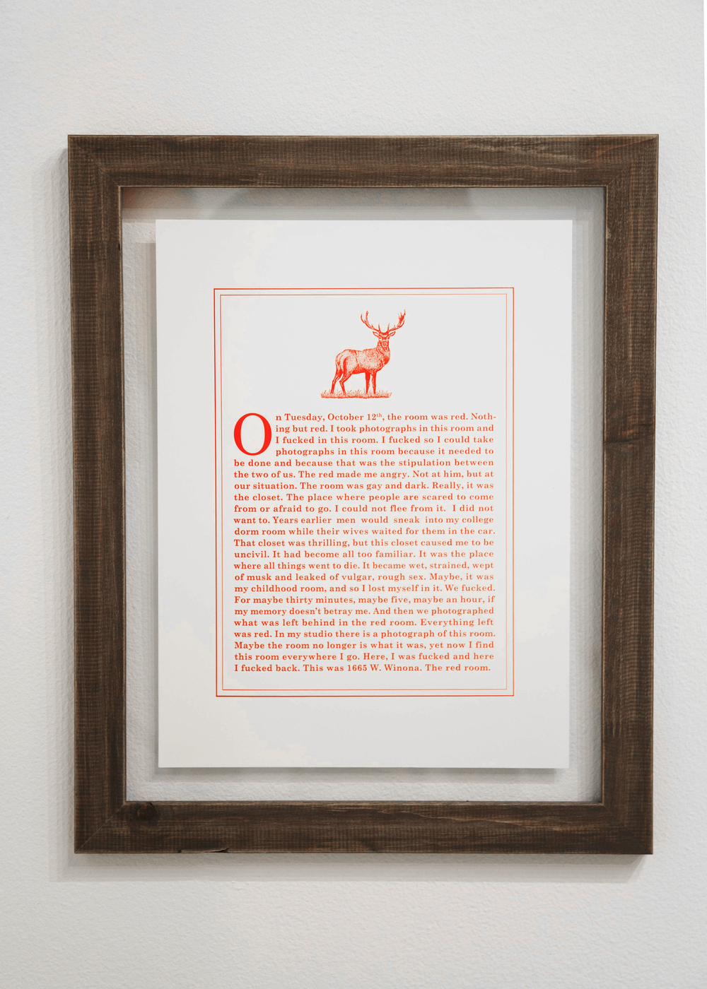 "¨On Tuesday, October 12th, the room was red"" (2016),  Letterpress mounted between glass with wooden frame (12"" x 15"")"