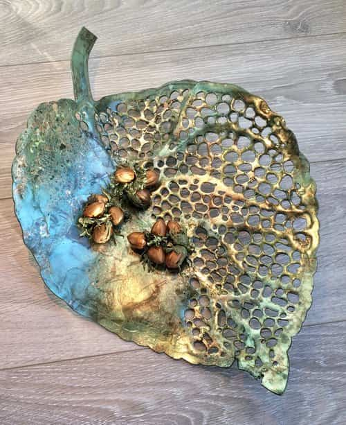 Cycle of Life Gilded Leaf Sculpture