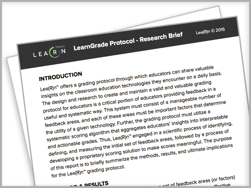 LearnPlatform, Research Brief & Rubric, LearnTrials