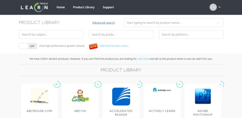 Searchable Product Library on LearnPlatform