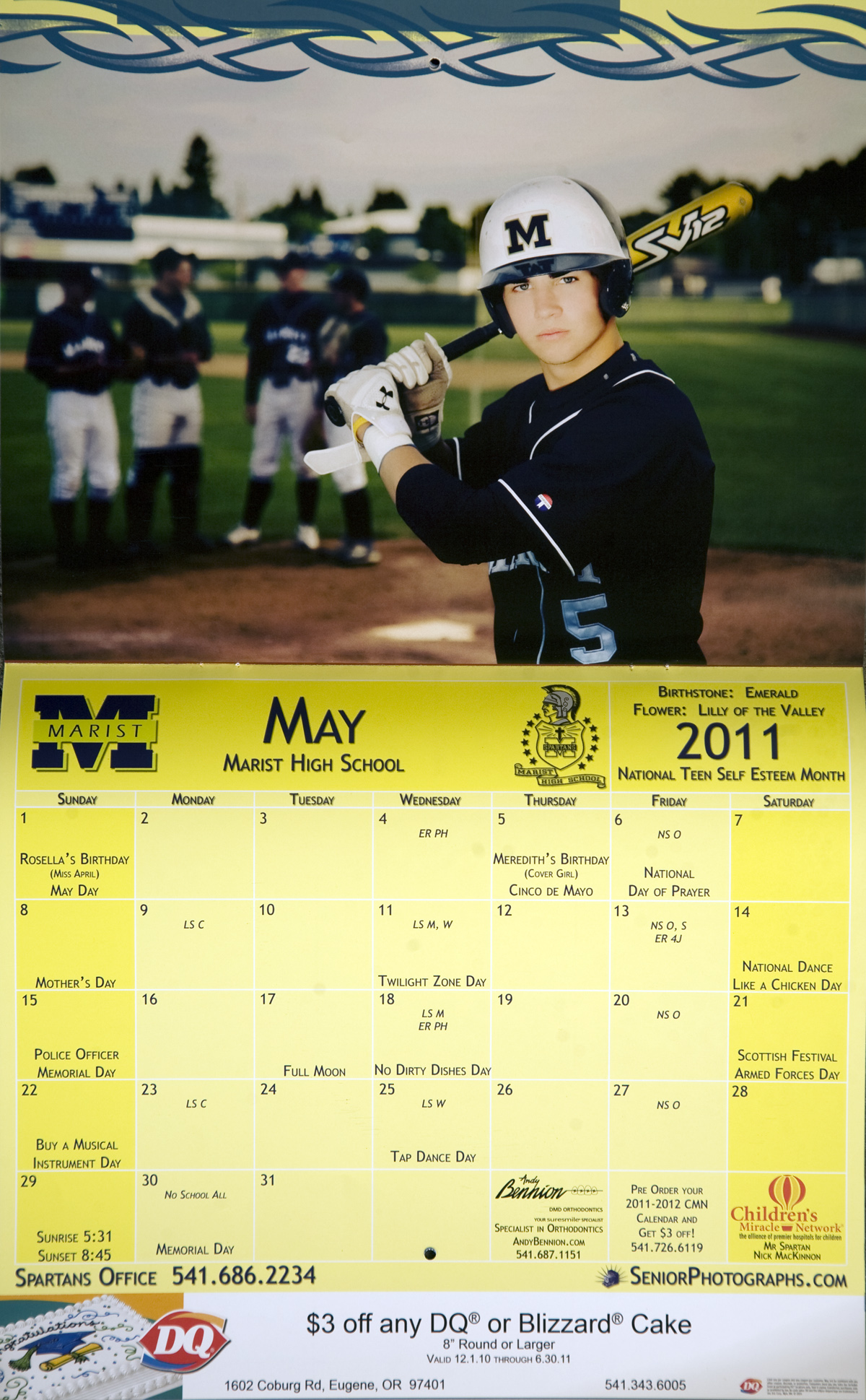 calendar baseball portraits oregon