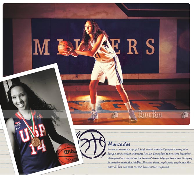 High School senior calendar by photographer Bruce Berg, Mercedes Russell basketball Eugene Oregon