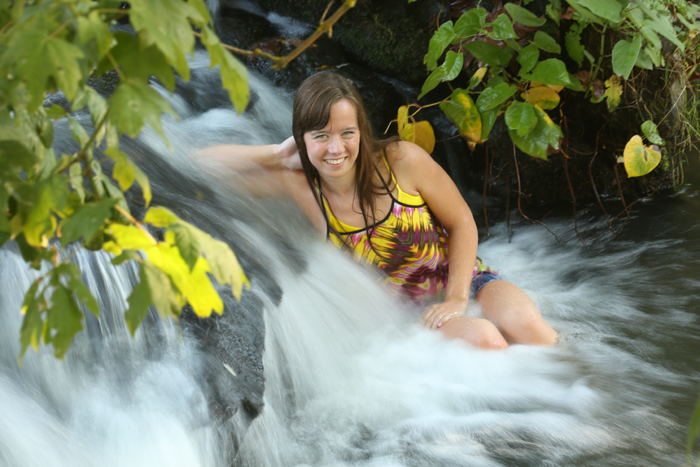 girl in waterfall eugene oregon