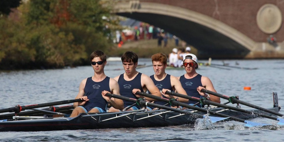 Cape Cod Youth Rowing boys quad at Head of the Charles, Boston.