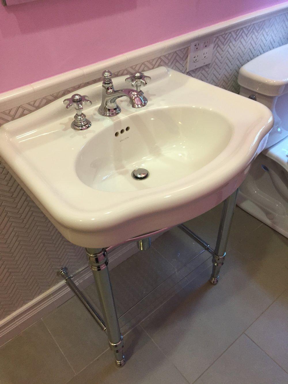 Gorgeous Kallista Janeway Console Sink White Porcelain Stainless ...