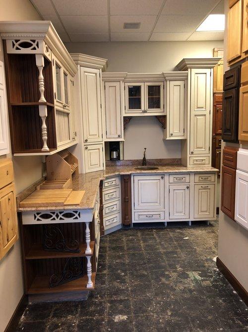 NEW Custom White Glazed Wood Kitchen Wet Bar Cabinets Granite Gorg ...