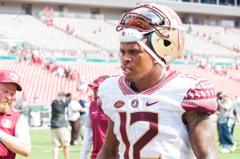 Deondre Francois heading to the locker room for half time
