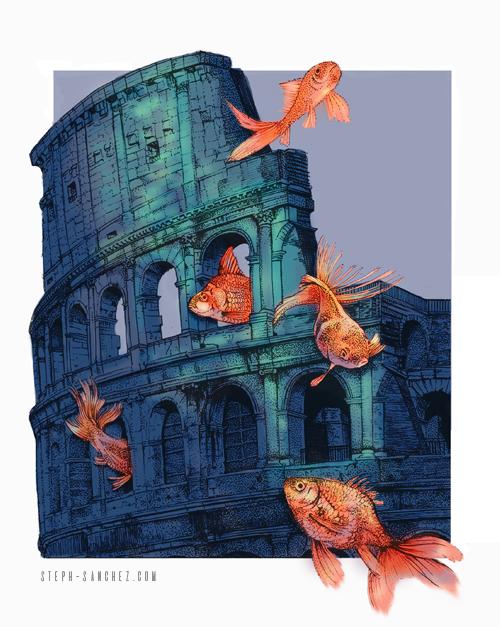 Goldfish Swimming Around the Colosseum