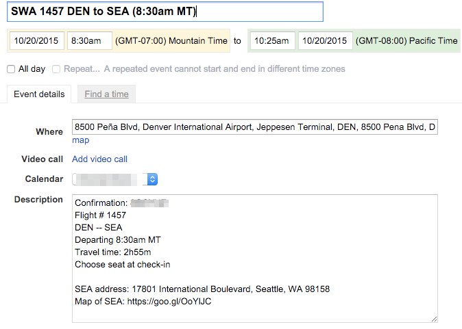 An example calendar appointment -- this is for a flight to Seattle!