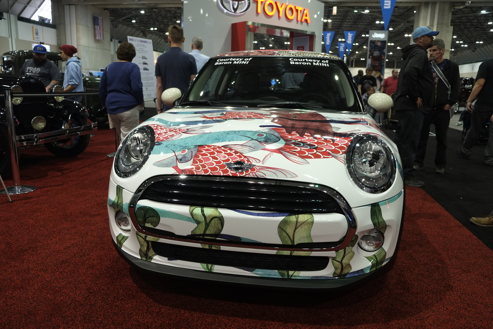 "Front grill view of Alison Polston's BMW Mini wrap ""Salmon Run""."