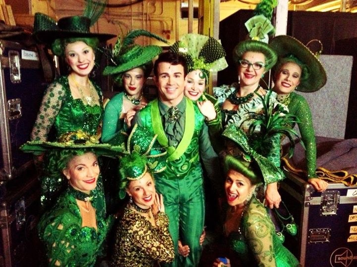 Backstage during  The Wizard of Oz , Ed Mirvish Theatre, 2013. Left to right, top to bottom: Julianne Hobby, Julia McLellan, Sam DiGiuseppe, Aly Workman, Chelsey Duplak, Ayrin Mackie, Sarah Higgins, Cleopatra Williams.