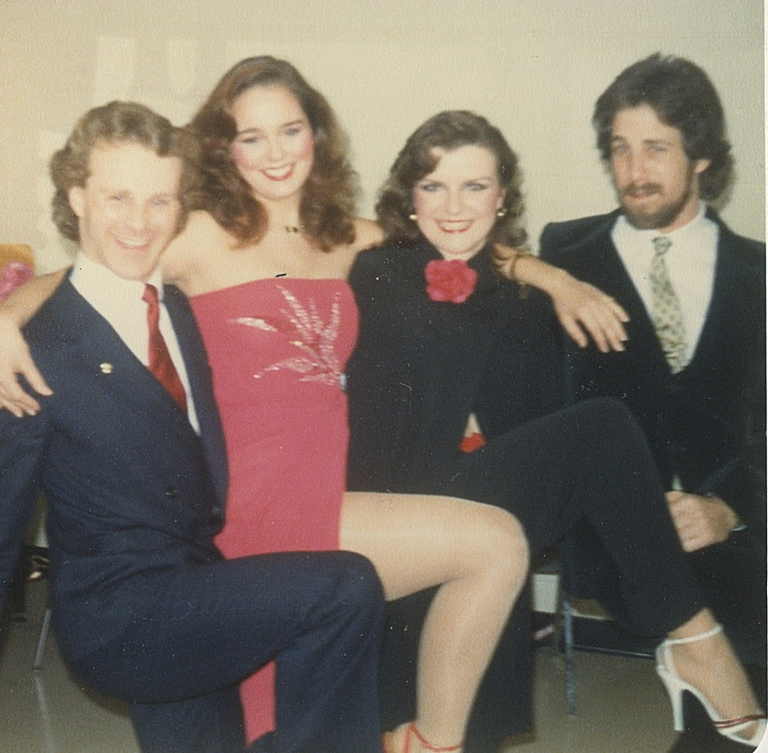 Rehearsing backstage with Gerald Isaac, Cynthia Dale, and Greg Bond for the First Annual Dora Mavor Moore Awards, 1980.