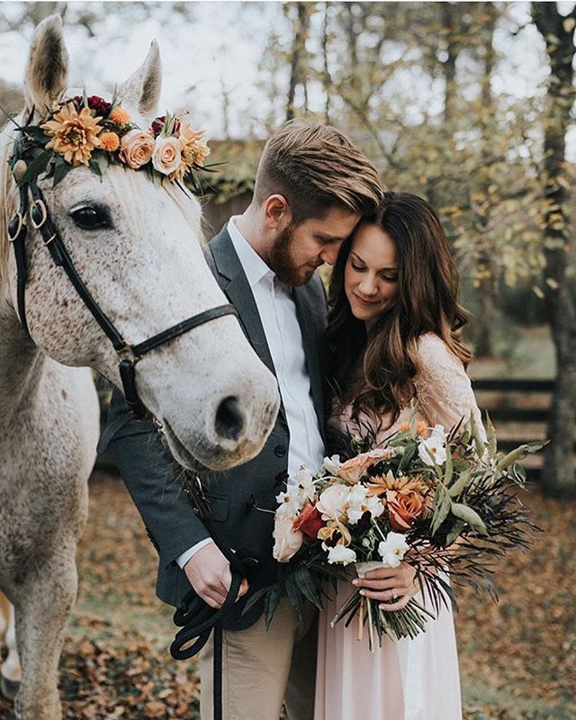 True love and an equine friend, what more could you want on a beautiful fall day 🍂 photo @thetinsleyco