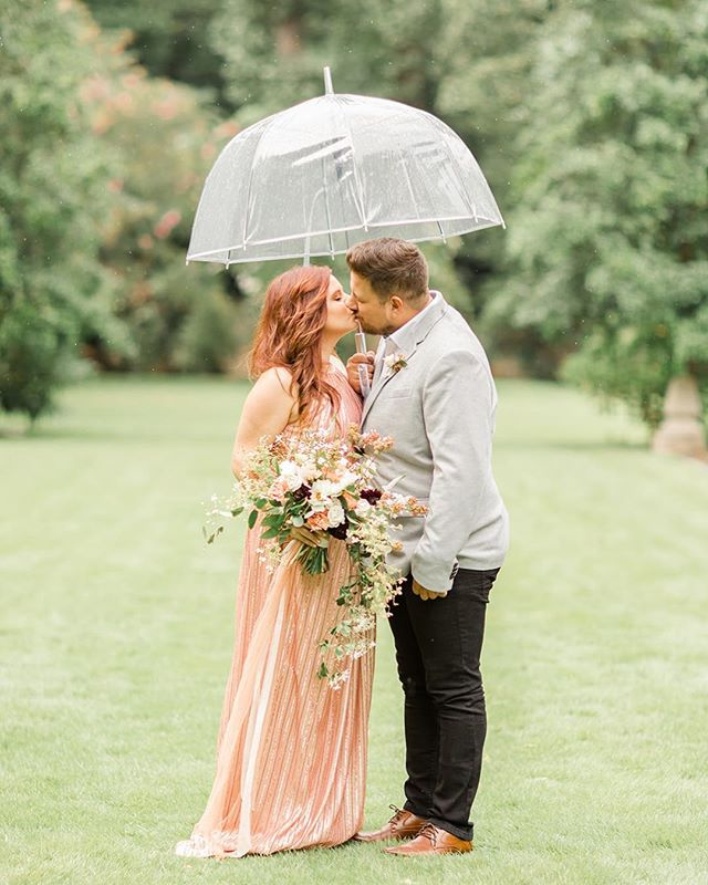 It's been raining for weeks here, and I leaned in with moody music and books. There's beauty in every season but (like everyone else) I'm soaking up the sunbeams that we've finally been gifted! ⠀ Remembering the sunshine these two found on a rainy afternoon when Rick proposed to Chelsea 💕 featured on @howtheyasked  Photo @jccreativeco Planning @gloryweddings Floral @beautifulwilddesign