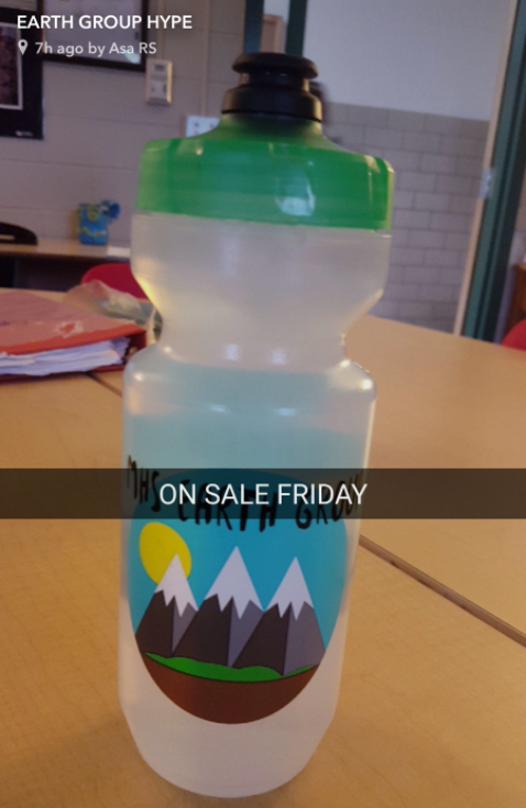 A photo promoting the Earth Group's new BPA-free water bottles on Snapchat. Taken by Asa Richardson-Skinder.