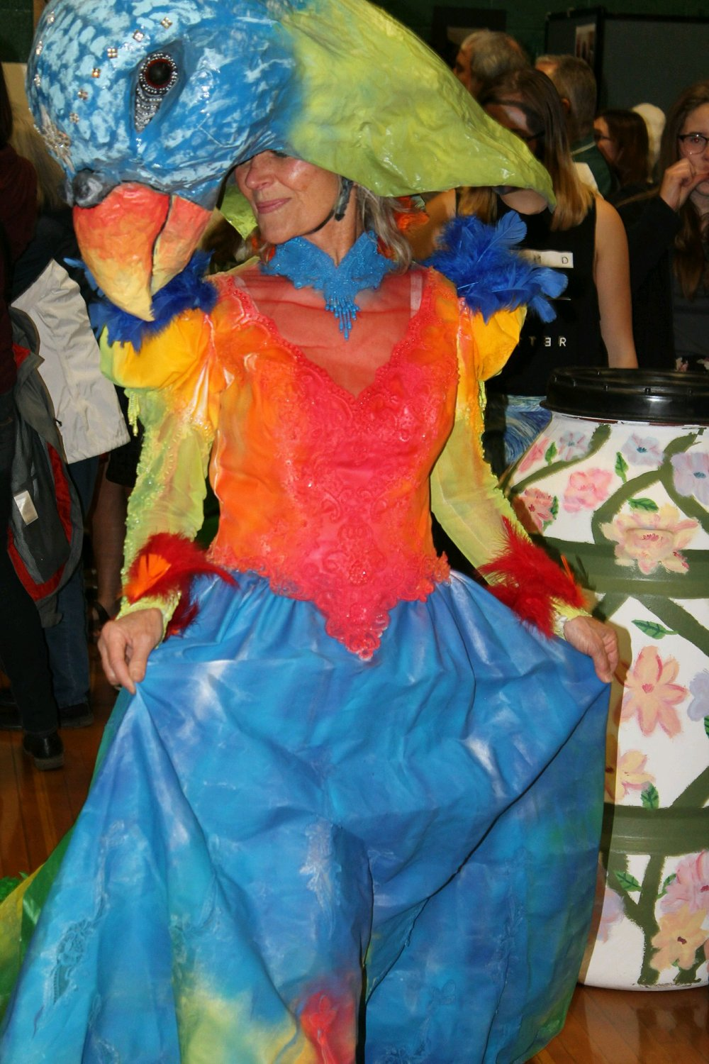 Barb Austin-Hutchins wearing her parrot-inspired dress.