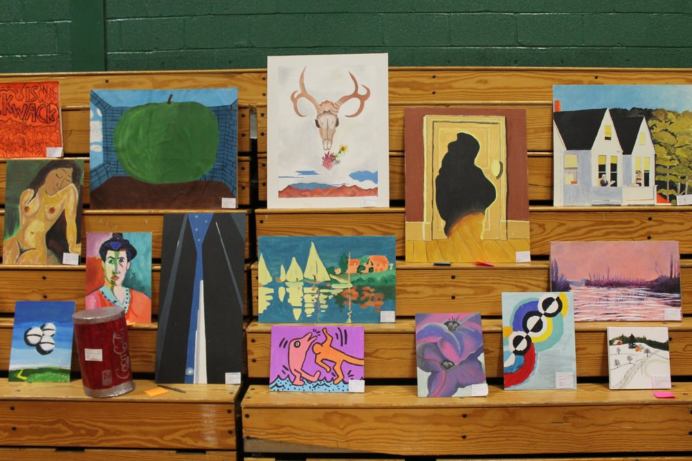 Here are several acrylic paintings done by Art I students.  They are excellent recreations of works done by famous artists.