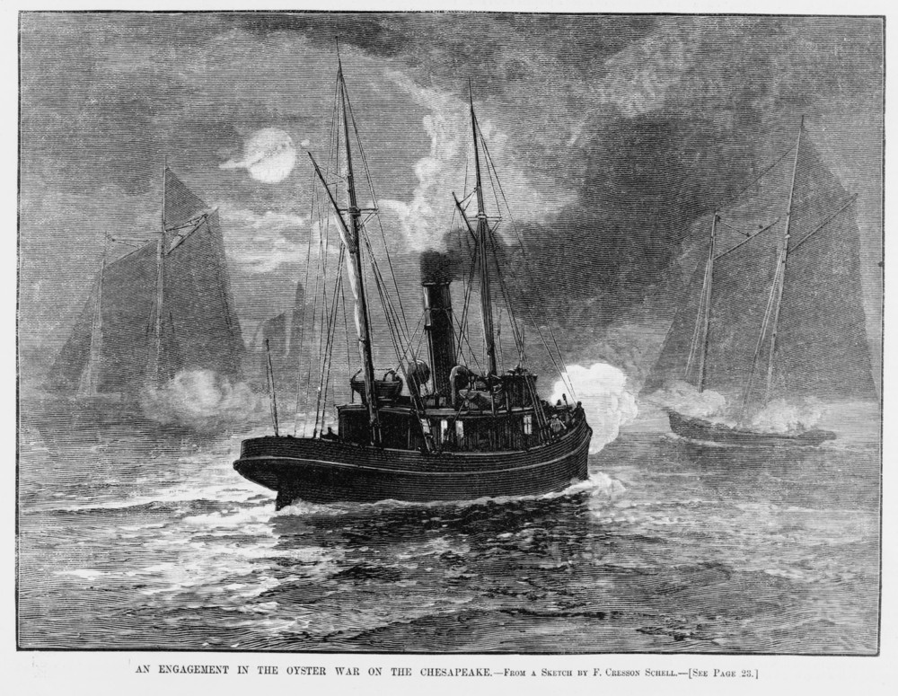 Harper's Weekly illustration from 1886 of a gun battle on the Chester River during the Oyster Wars. Collection of Kate Livie