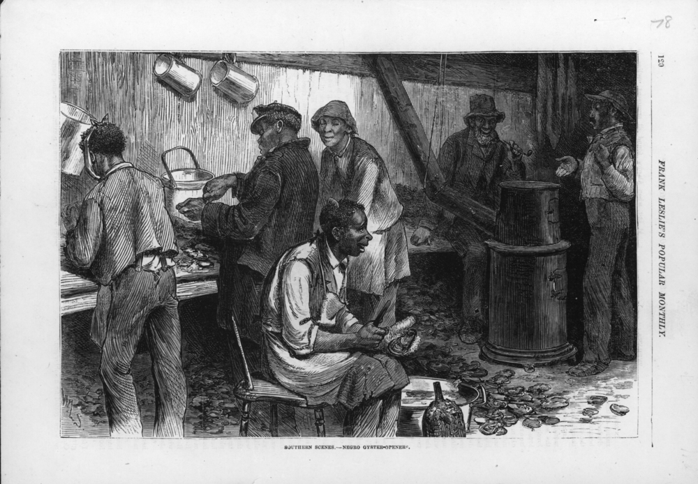 Image of a crisfield packinghouse, Frank Leslie's Weekly, 1878. Collection of Author.