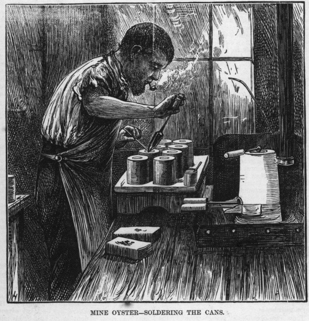 A Baltimore worker individually solders the oyster cans before shipping. Harper's Weekly, 1872.