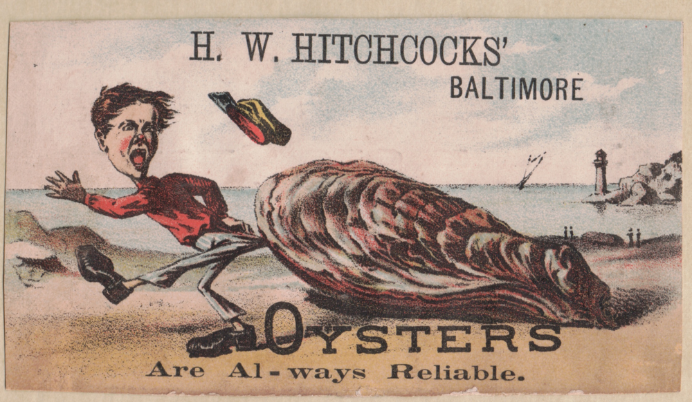 Hitchcock oysters trading card, late 19th century.
