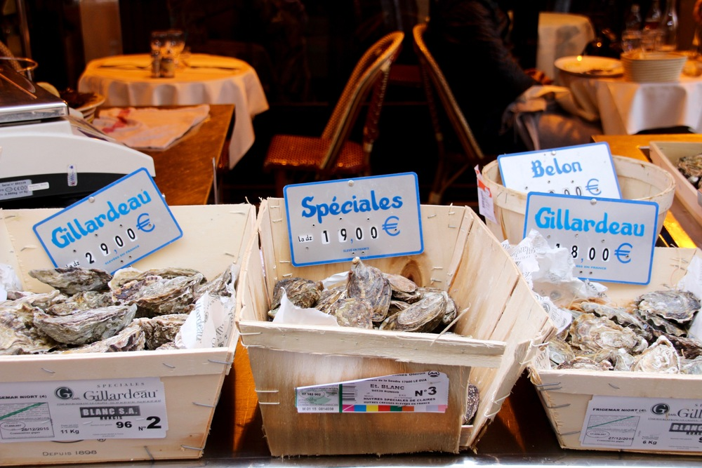 Oysters on offer in Paris' Buci Market