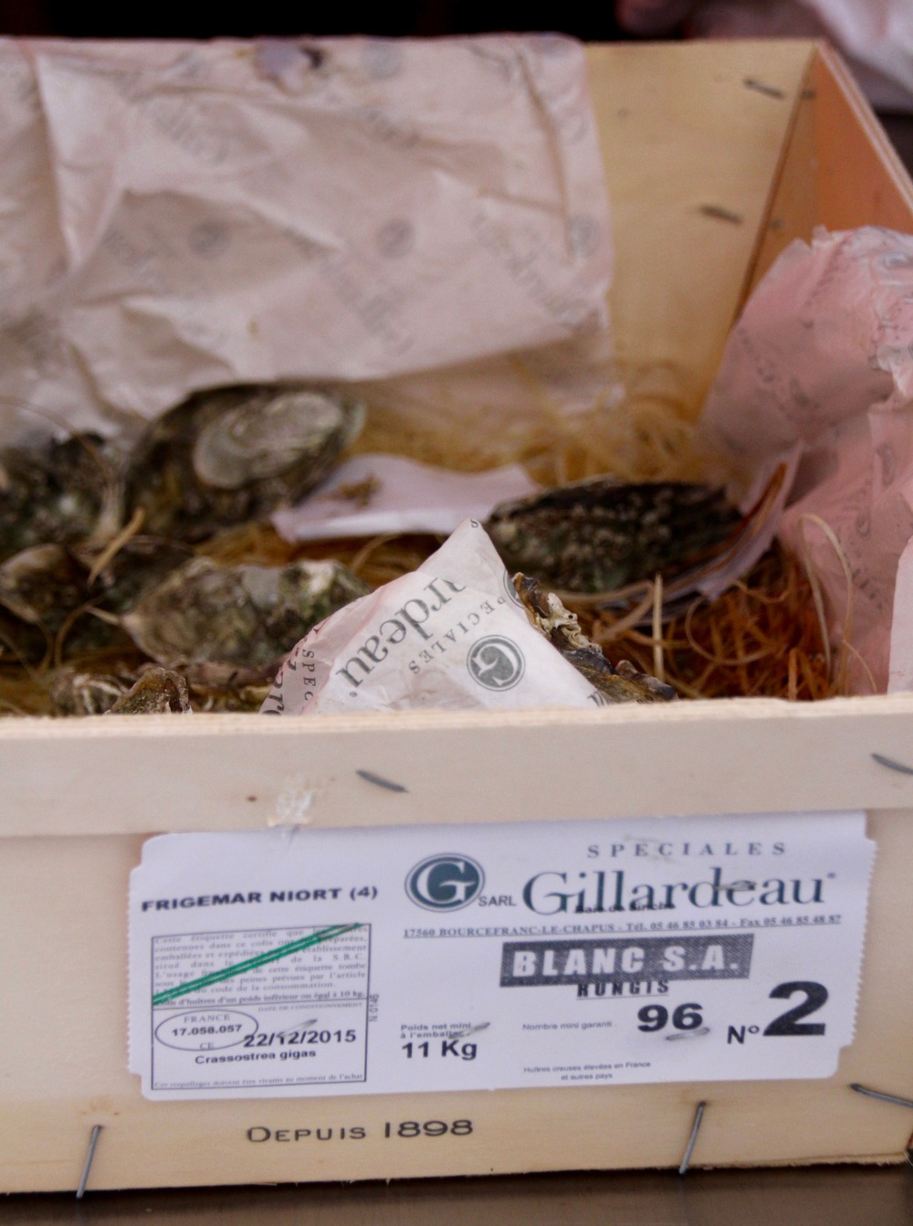 Oyster tag on a box of No 2 Gillardeau Speciales. Note the species (Crassostrea gigas) and the harvest date (12/22- this photo was taken on 12/28, so these were very fresh oysters).