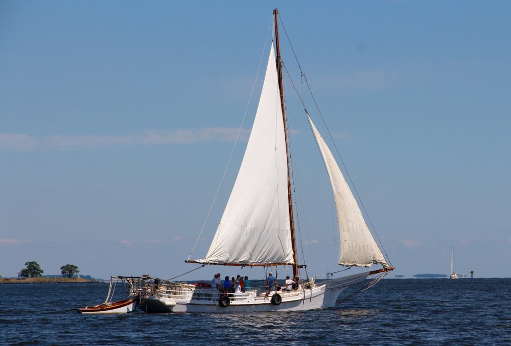A summer's day on the Miles River, as the skipjack  HM Krentz  sails out languidly towards the open waters of the Chesapeake's Eastern Bay.   image by author