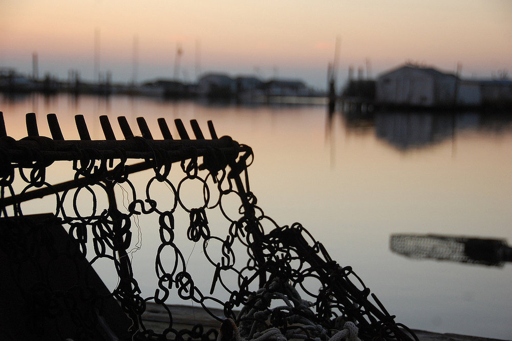 Sunset over a crab scrape, Smith Island, Maryland.    Photo courtesy of StateMaryland on flickr:  http://bit.ly/1psV8QT