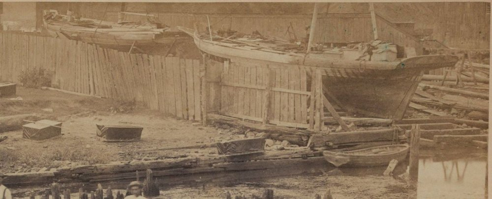 A Library of Congress photo with what appears to be a Pungy and a Bugeye (square sterned) or pilot schooner, being repaired on the Potomac River, 1862.      This may be the earliest documented photo of a Chesapeake Bay Pungy. The fact they are being rebuilt on a railway makes them even older.