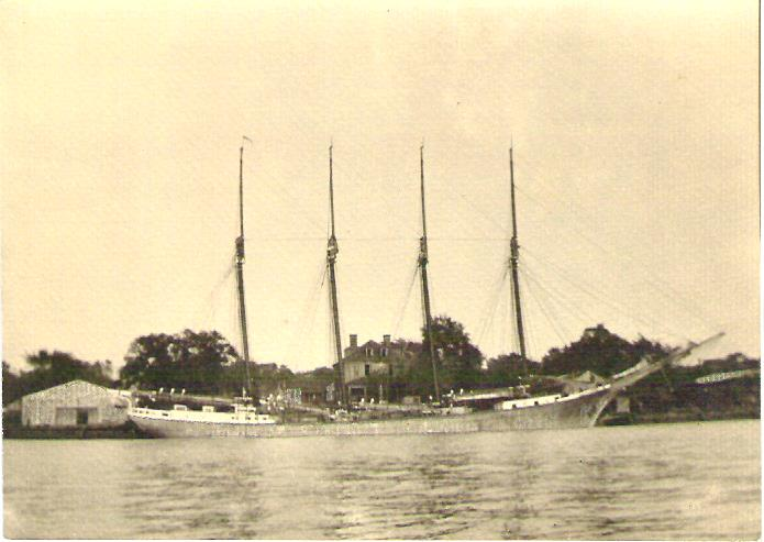This month in maritime history:     Purnell T. White    laden with lumber, 18 November 1933, photo by J. S. McCullough.       The Sharptown-built 4-masted schooner  Purnell T. White  signaled in distress to a passing steamer 200 miles off Cape Fear on February 7, 1934.  She took a tow the next day from a Coast Guard cutter that was dispatched to the scene, but was abandoned at sea when the tow proved exceedingly slow.  The dismasted schooner was ultimately salvaged and brought into Norfolk, but she never sailed again.