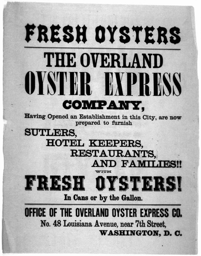 19th century advertisement for Chesapeake Bay oyster distribution company. Courtesy of the Library of Congress.