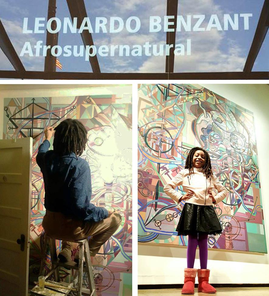 The  Afrosupernatural  exhibition signage at Aljira; Leonardo at work on  Subterrestrial Magik;  Maia Estelle Benzant-Pérez proudly stands before her father's finished work at the opening. Photos courtesy of Leonardo Benzant.