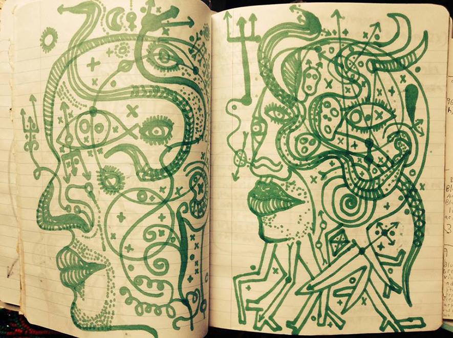 One of many sketchbooks. Photo courtesy of Leonardo Benzant.