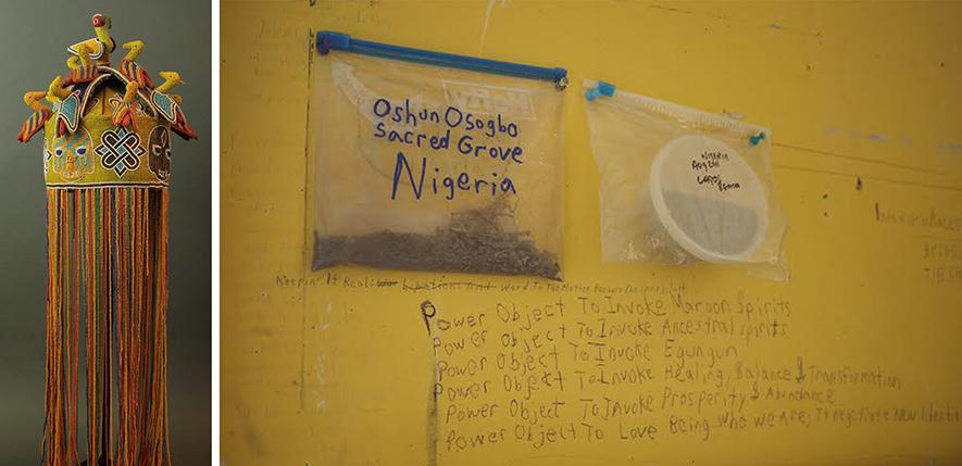 Yoruba inspiration: beaded crown and precious earth from the  orisha Oshun's sacred grove in Osogbo, Nigeria. Wall photo by  Henry Adebonojo.