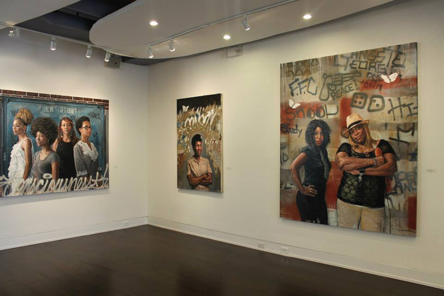 "From Depicted/Connected (L-R) ""Her Story, 2013; JAG, 2013; D.C.O.G. (collaboration with Tim ""Con"" Conlon) 2013."