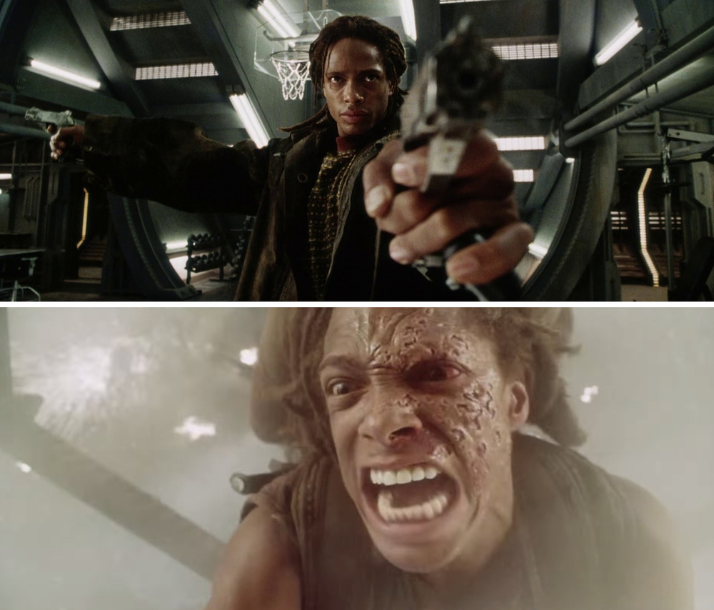 In character as Christie, a mercenary and first mate of the ship, the Betty in  Alien: Resurrection .