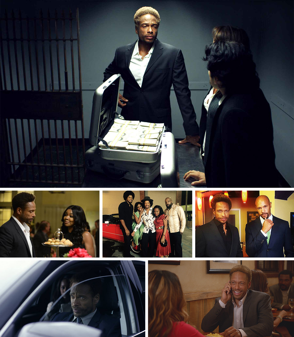 "Top: ""Clyde"" in  Five Thirteen.   Center:  ""Sheldon"" in BET's  Being Mary Jane ; ""Augie Johnson"" in TV One's  Love Under New Management;  with Stephen C. Bishop in TV One's,  Media,  forthcoming in 2017 .  Bottom: ""Ayden"" in  Reversion  with Aja Naomi King; and on the TV One series,  Belle's."
